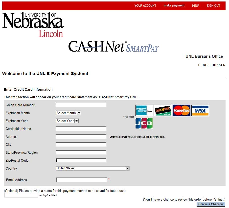 UNL E-Payment System Credit Card