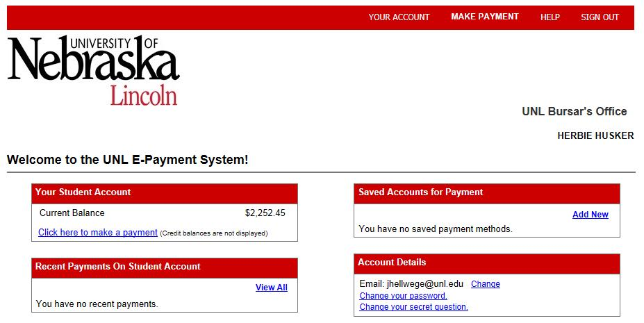 UNL E-Payment System Welcome Page
