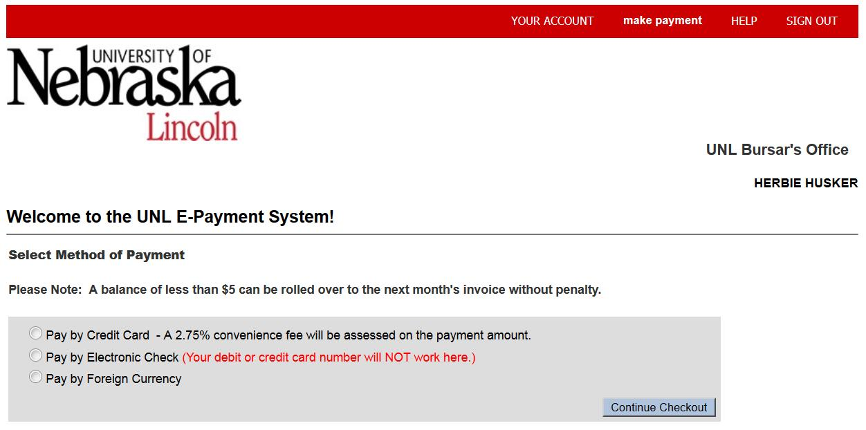 UNL E-Payment System Payment Method