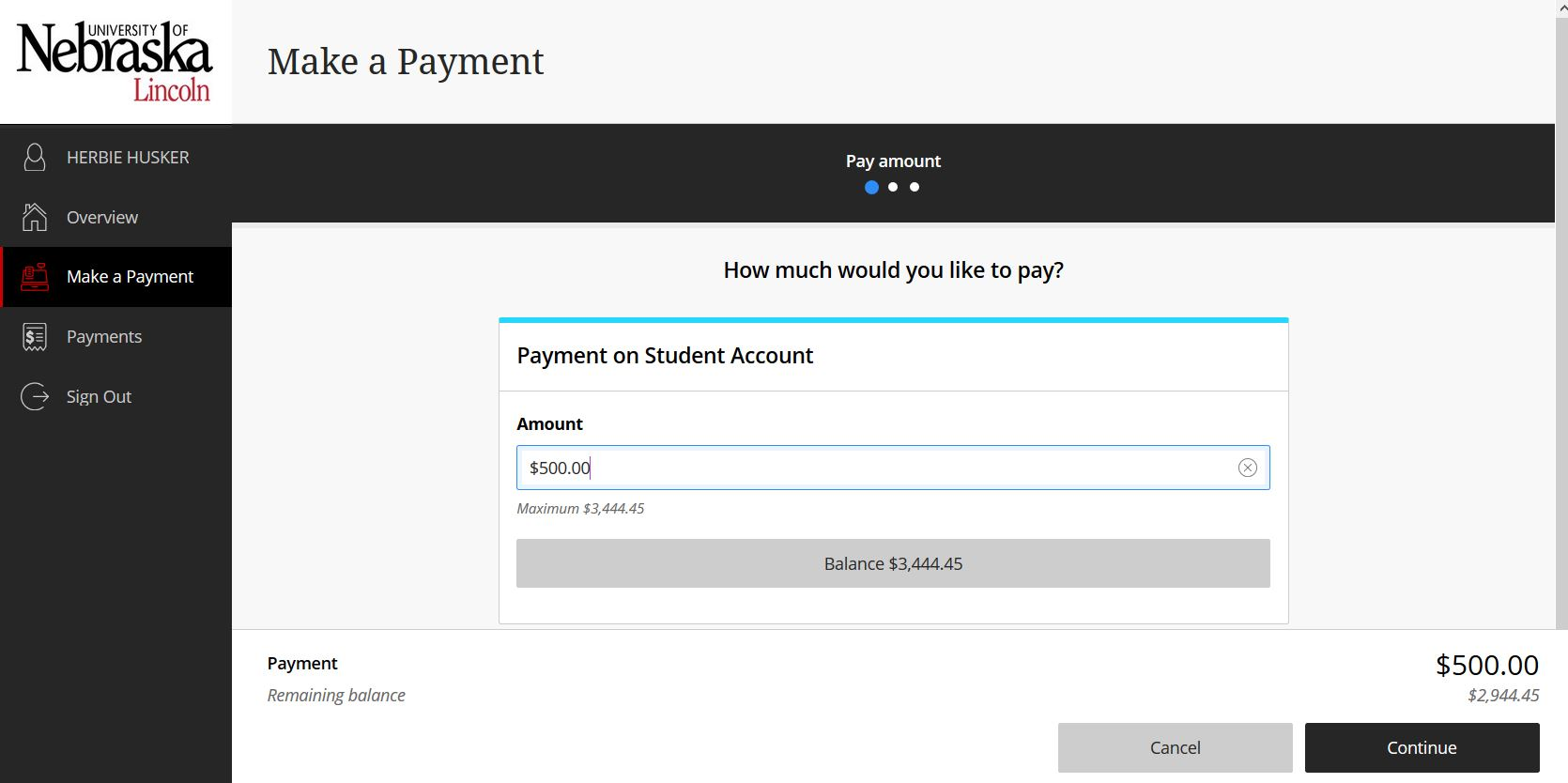 Make a payment screen, showing continue button on lower right