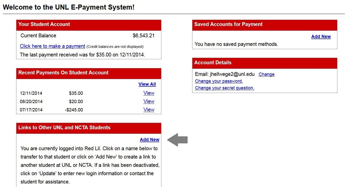 Screenshot of the UNL E-Payment System highlighting the Add New link.