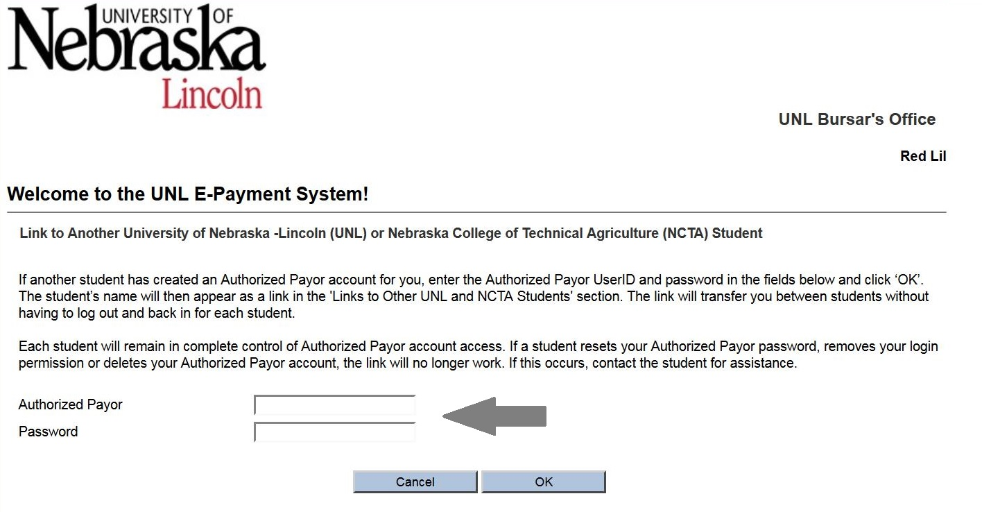 Screenshot of the UNL E-Payment System showing the Authorized Payor and Password input fields.